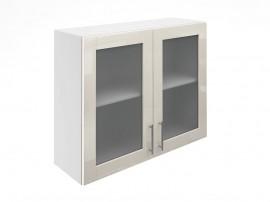 Горен шкаф за кухни с две витринни врати МДФ Елит М21 Крем гланц 90 см.