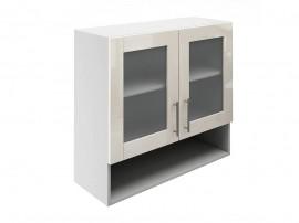 Горен шкаф за кухни с две витрини и ниша МДФ Елит М23 Крем гланц 80 см.