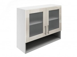 Горен шкаф за кухни с две витрини и ниша МДФ Елит М23 Крем гланц 90 см.