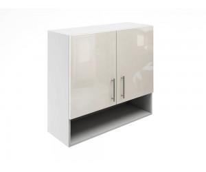 Горен шкаф за кухни с две врати и ниша МДФ Елит М22 Крем гланц 80 см.