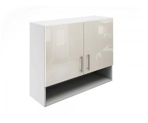 Горен шкаф за кухни с две врати и ниша МДФ Елит М22 Крем гланц 90 см.