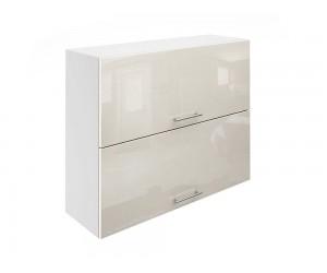 Горен шкаф за кухни с хоризонтални клапващи врати МДФ Елит М25 Крем гланц 90 см.