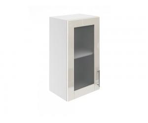 Горен шкаф за кухни с една витринна врата МДФ Елит М17 Крем гланц 40 см.