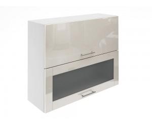 Горен шкаф за кухни с хоризонтални клапващи врати и витрина МДФ Елит М24 Крем гланц 90 см.