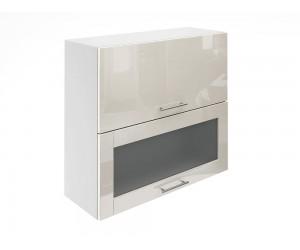 Горен шкаф за кухни с хоризонтални клапващи врати и витрина МДФ Елит М24 Крем гланц 80 см.