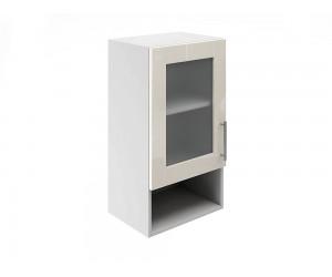 Горен шкаф за кухни с една витрина и ниша МДФ Елит М19 Крем гланц 40 см.
