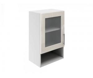 Горен шкаф за кухни с една витрина и ниша МДФ Елит М19 Крем гланц 45 см.