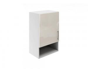 Горен шкаф за кухни с една врата и ниша МДФ Елит М18 Крем гланц 45 см.