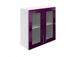 Горен шкаф за кухни с две витринни врати МДФ Елит М21 Патладжан гланц 70 см.