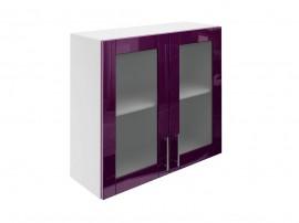 Горен шкаф за кухни с две витринни врати МДФ Елит М21 Патладжан гланц 80 см.