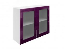 Горен шкаф за кухни с две витринни врати МДФ Елит М21 Патладжан гланц 90 см.