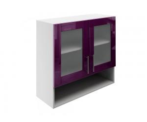 Горен шкаф за кухни с две витрини и ниша МДФ Елит М23 Патладжан гланц 80 см.