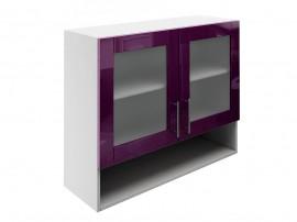 Горен шкаф за кухни с две витрини и ниша МДФ Елит М23 Патладжан гланц 90 см.