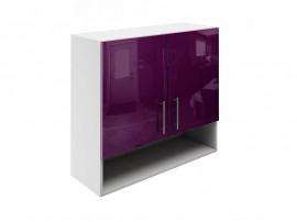 Горен шкаф за кухни с две врати и ниша МДФ Елит М22 Патладжан гланц 80 см.
