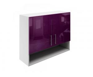 Горен шкаф за кухни с две врати и ниша МДФ Елит М22 Патладжан гланц 90 см.