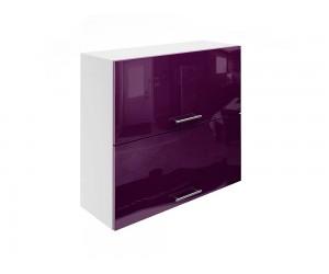 Горен шкаф за кухни с хоризонтални клапващи врати МДФ Елит М25 Патладжан гланц 80 см.