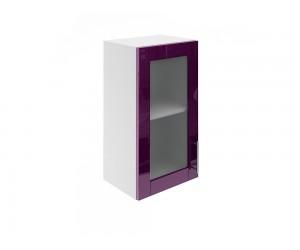 Горен шкаф за кухни с една витринна врата МДФ Елит М17 Патладжан гланц 40 см.