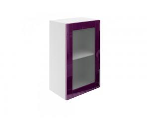 Горен шкаф за кухни с една витринна врата МДФ Елит М17 Патладжан гланц 45 см.