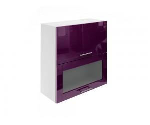 Горен шкаф за кухни с хоризонтални клапващи врати и витрина МДФ Елит М24 Патладжан гланц 70 см.