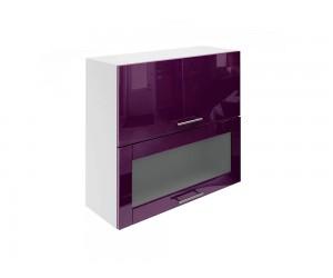 Горен шкаф за кухни с хоризонтални клапващи врати и витрина МДФ Елит М24 Патладжан гланц 80 см.