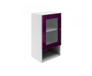 Горен шкаф за кухни с една витрина и ниша МДФ Елит М19 Патладжан гланц 40 см.