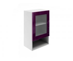 Горен шкаф за кухни с една витрина и ниша МДФ Елит М19 Патладжан гланц 45 см.