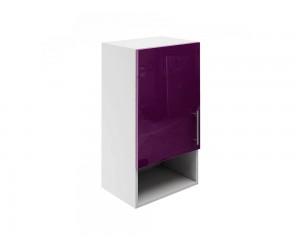 Горен шкаф за кухни с една врата и ниша МДФ Елит М18 Патладжан гланц 40 см.