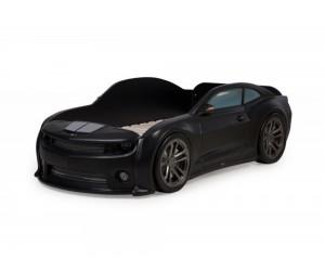 Легло - кола модел EVO КАМАРО - черна - с дънно осветление, светещи фарове и мек гръб