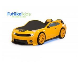 Легло - кола модел EVO КАМАРО - жълта - с дънно осветление, светещи фарове и мек гръб