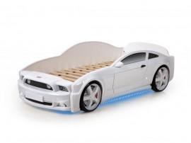 Легло - кола модел MG LIGHT 3D - бяла - с дънно осветление и светещи фарове