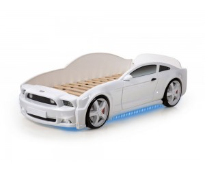 Легло - кола модел МУСТАНГ LIGHT 3D - бяла - с дънно осветление и светещи фарове