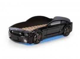 Легло - кола модел MG LIGHT 3D - черна - с дънно осветление и светещи фарове