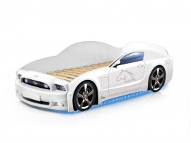 Легло - кола модел МУСТАНГ LIGHT PLUS - бяла - с дънно осветление и светещи фарове