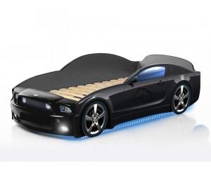 Легло - кола модел МУСТАНГ LIGHT PLUS - черна - с дънно осветление и светещи фарове