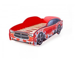 Легло - кола модел LIGHT Додж в червено