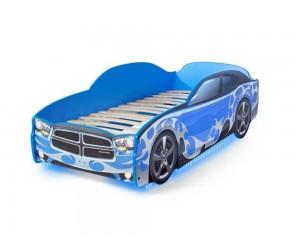 Легло - кола модел LIGHT Додж - синя - с дънно осветление