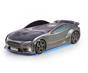 Легло - кола модел NEO МЕРЦЕДЕС - графит - с матрак 3D, дънно осветление, светещи фарове и мек спойлер