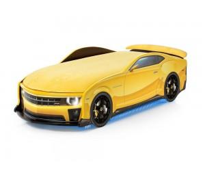 Легло - кола модел UNO КАМАРО - жълта - с матрак Флок-Алкантара, дънно осветление, светещи фарове и мек спойлер