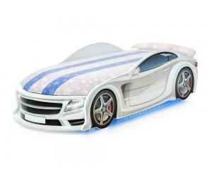 Легло - кола модел UNO МЕРЦЕДЕС - бяла - с матрак Спорт-Алкантара, дънно осветление, светещи фарове и мек спойлер