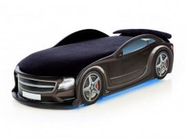 Легло - кола модел UNO МЕРЦЕДЕС - черна - с матрак Стандарт, дънно осветление и светещи фарове