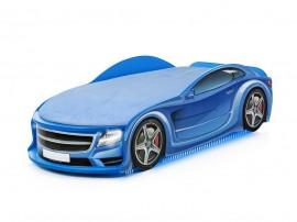 Легло - кола модел UNO МЕРЦЕДЕС - синя - с матрак Стандарт, дънно осветление и светещи фарове