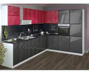 Модулна ъглова кухня MDF Гланц 300/260 с включен термоплот и термогръб