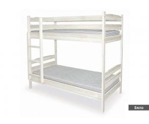Двуетажно легло Масив - бял цвят