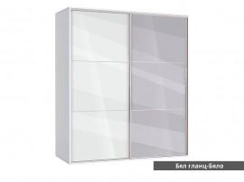 Гардероб Ава 41 с две плъзгащи врати и огледало - корпус бяло