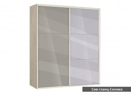 Гардероб Ава 41 с две плъзгащи врати и огледало - сиво гланц/сонома