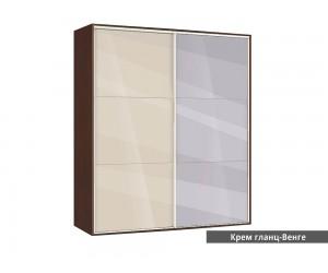 Гардероб Ава 41 с две плъзгащи врати и огледало - крем гланц/венге