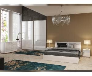 Спален комплект Бианка - бяло гланц/бяло