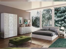 Спален комплект Ава 2 - бяло гланц/кристал/бяло