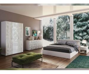 Спален комплект Мейн - бяло гланц/кристал/бяло