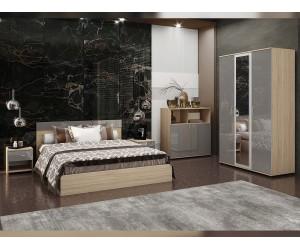 Спален комплект Ава 4 - сиво гланц/бяло гланц/сонома